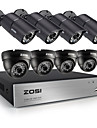 zosi®8ch 720p cctv 8pcs dvr 1.0MP systeme de camera de securite avec hdd 1tb