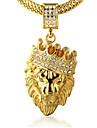 Bărbați Coliere cu Pandativ Ștras Crown Shape Animal Shape Leu Auriu 18K de aur Diamante Artificiale Aliaj Stâncă Personalizat Bijuterii