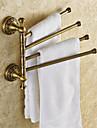 antika mässingspläterad fast mässing 4 bar roterbara badrum handdukshängare