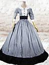 Une Piece/Robes Lolita Classique/Traditionnelle Lolita Cosplay Vetements de Lolita Gris Mosaique Manches 3/4 Long Robe Pour Femme Coton