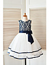 A-linie genunchi lungime floare fata rochie - tul dantelă fără mâneci gât scoop cu panglică