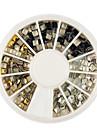 or / argent / noir carre alliage de rivet nail art decoration 3x3mm