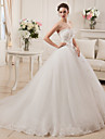 Ball Gown Wedding Dress Vintage Inspired Court Train Strapless Satin Tulle with Appliques Beading Bow