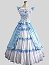 One-piece/Klänningar Sweet Lolita Victoriansk Cosplay Lolita Klänning Blå Enfärgat Ärmlös Ankellång Klänning För Dam Bomull