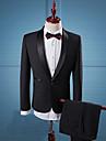 Bărbați Rever Clasic Costume Casul/Zilnic Muncă Vintage Simplu(ă) Șic Stradă,Mată Manșon Lung Toate Sezoanele-Negru Celofibră