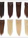 Mänskligt hår Klämma in Ret Människohår förlängningar