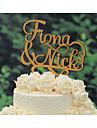 Vârfuri de Tort Personalizat Cuplu Clasic Crom Aniversare Nuntă Galben Temă Clasică Tema Vintage Tema rustic 1 Sac poli