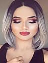 Moyen de longues perruques synthetiques droites gris ombre chaleur perruque synthetique respectueux