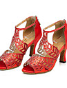 Chaussures de danse(Noir Rouge Nu) -Personnalisables-Talon Bottier-Similicuir-Latines Baskets de Danse Modernes
