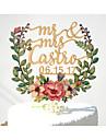 Vârfuri de Tort Personalizat Cuplu Clasic Hârtie cărți de masă Petrecerea Bridal Shower Nuntă Aniversare GalbenTemă Grădină Temă Florală