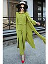 Damă Guler Cămașă Cămașă Pantaloni Costume Casul/Zilnic Muncă Șic Stradă,Mată Manșon Lung Primăvara Toamnă Inelastic