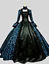 Une Piece/Robes Gothique Victorien Cosplay Vetrements Lolita Cachemire Manches longues Cheville Robe Pour Satin de Laine