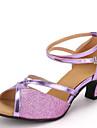 Chaussures de danse(Violet Argent Or) -Non Personnalisables-Talon Bottier-Similicuir Paillettes-Latines