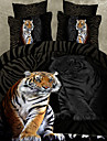 Animal 4 Piese Imprimeu reactiv 1pc Plapumă Duvet 2pcs Shams 1pc Cearceaf Plat