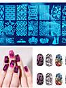 10 nya DIY nail art bild stämpel stämpling plattor manikyr mall verktyg slumpmässig stil