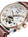KINYUED Bărbați Ceas Elegant Ceas Schelet Ceas de Mână ceas mecanic Mecanism automat Calendar Cronograf Rezistent la Apă Piele Bandă