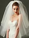 Voal de Nuntă Trei niveluri Voaluri Lungi Până la Cot Voaluri Lungime Până la Vârfurile Degetelor Margine Tăiată Tul