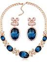 Bijuterii 1 Colier 1 Pereche de Cercei Cristal Petrecere Aliaj 1set Dame Alb Albastru Albastru Marin Închis Cadouri de nunta