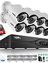 sannce® 8ch CCTV NVR systemet poe nvr 1080p video ourput 2,0m väder CCTV IP-kamera säkerhetssystem med 2TB