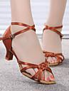 Chaussures de danse(Noir Marron fonce) -Personnalisables-Talon Bas-Satin-Latines