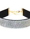 Dame Coliere Choker imitație de diamant Șuviță unică Circle Shape Piele  Ștras Design Basic European Bijuterii Pentru Zilnic Casual