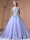 Formal Evening Dress Ball Gown Bateau Court Train Lace Tulle Polyester with Appliques Flower(s) Lace Bandage
