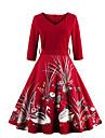 Dame Casul/Zilnic Șic Stradă Swing Rochie-Imprimeu ¾ Manșon In Formă de Inimă Midi Roșu Negru Bumbac Primăvară Toamnă Talie Medie