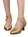 Chaussures de danse(Rouge Argent Or) -Personnalisables-Talon Personnalise-Cuir-Modernes