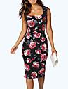 Damă Ieșire Nuntă Sexy Vintage Bodycon Rochie-Floral Fără manșon Pătrat Lungime Genunchi Negru Poliester Vară Talie Medie Micro-elastic