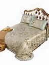 Fleur Ensembles housse de couette 3 Pieces Polyester Luxe Jacquard Polyester Lit 2 Places \'King\' 2 x Taies d\'oreiller brodees 1 x Drap lit