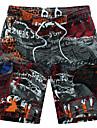 Larg Boho Activ Talie Medie,Micro-elastic Pantaloni Sport Pantaloni Scurți Pantaloni Peteci Imprimeu Bloc Culoare