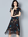 semneze 2017 primăvara și nouă rochie de mătase subțire imprimate neregulate rochie de mătase cu mânecă scurtă