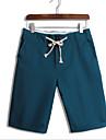 Bărbați Zvelt Simplu Talie Medie,Inelastic Pantaloni Scurți Pantaloni Solid
