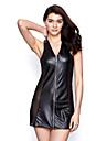 Feminin Cămăși de Noapte / Ultra Sexy Pijamale PU-Sexy Solid Negru