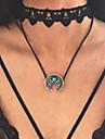Femme Pendentif de collier Turquoise Chaine unique Alliage Pendant Argent Bijoux PourMariage Soiree Occasion speciale Halloween