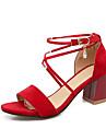 Femme-Habille Decontracte-Noir Beige Rouge-Gros Talon-Confort-Sandales-Similicuir