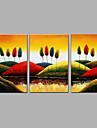 Peint a la main Abstrait Verticale,Moderne Trois Panneaux Toile Peinture a l\'huile Hang-peint For Decoration d\'interieur