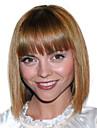 style chaud brun auburn deux tons natual style mixte de cheveux de bob avec une frange droite perruques de capless synthetiques