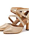 Går att specialbeställas Dam Dansskor Konstläder Moderna Sandaler Högklackade Individuellt anpassad klack Professionella Guld Silver
