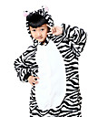 kigurumi Pyjamas Zebre Collant/Combinaison Fete / Celebration Pyjamas Animale Halloween Noir blanc Motif Animal Costumes de Cosplay Pour
