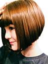 varm stil mörkbrun blandade strawberry blonde två toner natual bob frisyr med raka smällar syntetiska Capless peruker