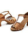 Personalizabili Damă Latin Mătase Sandale Înăuntru Ștrasuri Toc Personalizat Maro