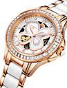 Pentru femei Ceas Schelet Ceas La Modă ceas mecanic Japoneză Mecanism automat Rezistent la Apă Aliaj Ceramică Bandă Argint Roz auriu