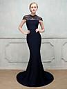 Mermaid / trompeta v-gât matura / perie tren bumbac elastic / nailon cu un indiciu de rochie seara stretch formale cu cristal