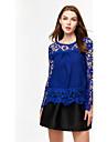 Femei Rotund Bluză Ieșire Plus Size / Sexy,Mată Manșon Lung Primăvară-Albastru / Roz / Roșu / Alb / Negru / Verde / Galben / Violet