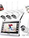 Sannce® 4ch cctv nvr wireless 1080p ip impermeabil ip camera de securitate sistem de avertizare de la distanță cu hdd 1tb
