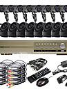 Ultra 16CH D1 H.264 en temps reel DVR Kit de videosurveillance (16 420TVL exterieur et d\'interieur de vision nocturne cameras CMOS)