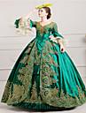 Une Piece/Robes Gothique Steampunk® Rococo Cosplay Vetrements Lolita Vert Retro Poete Manches Longues Long Robe Chapeau Jupon Pour