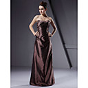 Lanting Bride® Floor-length Taffeta Bridesmaid Dress A-line / Princess / Sheath / Column Strapless Plus Size / Petite with Ruching