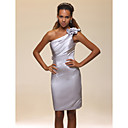 Cocktail Party Homecoming Graduation Holiday Dress - Open Back Sheath / Column One Shoulder Knee-length Satin withFlower(s) Ruffles Side